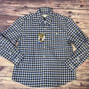 Orvis Blue Plaid Long Sleeve Shirt Mens  L